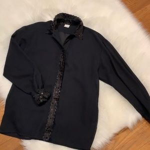 Vintage sheer and sequin button down blouse